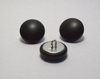 6 20mm khaki leather covered buttons