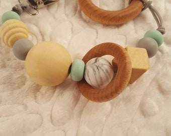 Silicone and Wood Teether Pacifier Clip, Mint, Grey and Marble