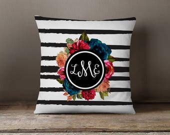 Dorm Decor, Nursery Pillow, Nursery Decor, Throw Pillow, Pillow Cover,  Dorm Pillow, Personalized, Monogram: Watercolor Stripes, Floral
