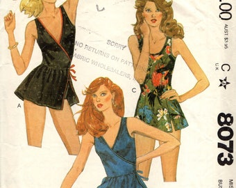 McCall's 8073 Bathing Suit and Panties Surplice Front-Wrap Bodice Bust 34 circa 1982