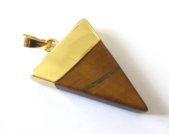 Pendant stone Triangle set Tiger eye gold