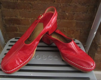 1970s red patent leather chunky shoes
