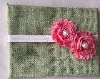 Pink pair of ShabbyFlowers on matching elastic headband with pearl centers.