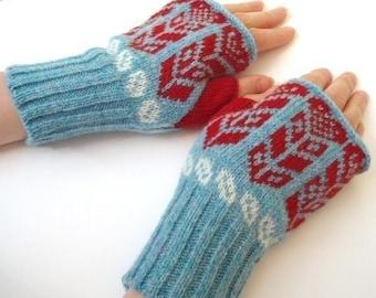 Wheat Heart Design Knitted Fairisle Hand Warmers Blue & Red