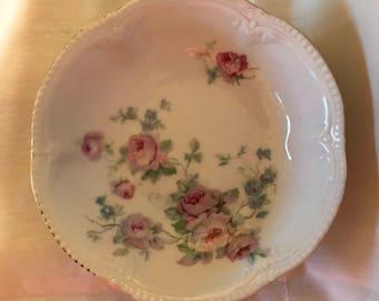 German Made Porcelain Dish.  Delicate Pink Rose and Blue Floral Details.