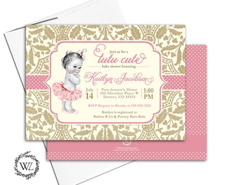 Tutu baby shower invitation for girls tutu cute baby shower invite, pink and gold lace polka dots, vintage, printable or printed - WLP00794