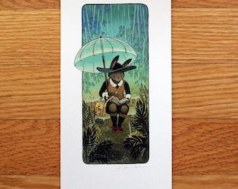 Rabbit Reading - Mini Fine Art Print by Nicole Gustafsson