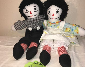 "15"" Raggedy Ann & Andy Doll Set #7"