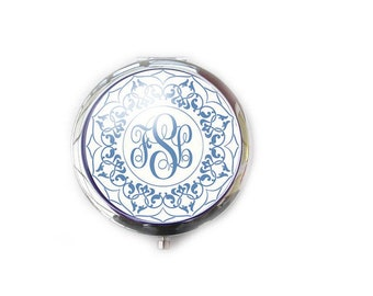 Personalize Monogram Compact Mirror, Two way 2x Magnifying Make Up Pocket Mirror