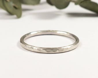 Textured Silver Ring - Silver Band Ring - Skinny Ring - Stacking Ring - Thin Band Ring - Bridesmaid Gift - Birthday Gift for Her - Thin Ring