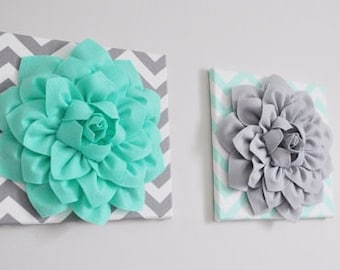 Mint and Gray WALL ART, Bathroom Artwork, Bedroom Pictures, Flower Wall Art, Home Decor, Flower Art, Dahlia Set of 2 Prints Or Canvas