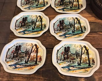 Vintage lot of 6 snack tray set. Notre dame, Paris. Made in Hong Kong.