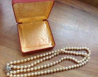Vintage 2 Strand Hand Knotted Pearl & Silver Choker Necklace