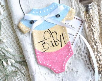 Oh Baby Shower Favor Salt Dough Ornament
