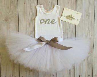 Silver Baby Girl 1st Birthday Outfit | Baby Tutu | Tutu Dress | Birthday Dress | Baby Girls Cake Smash Outfits | Birthday Tutu | White