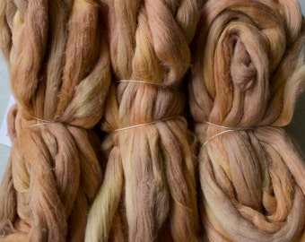 Cotton roving for spinning - Gold, 1 oz