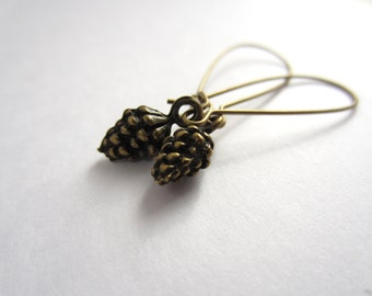 Antiqued Brass Pine Cone Earrings Fall Fashion Jewelry Hostess Teacher Gift