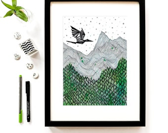 Nature print mountain art landscape painting, modern illustration print graphic art scandinavian print ink drawing minimalist art hand drawn