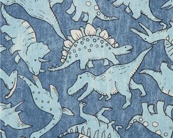 218560 blue with dinosaur animal oxford fabric by Kokka