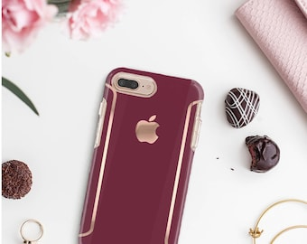 iPhone 8 Case iPhone 8 Plus Case iPhone X Burgundy iPhone Case and Rose Gold Detailing  Otterbox Symmetry