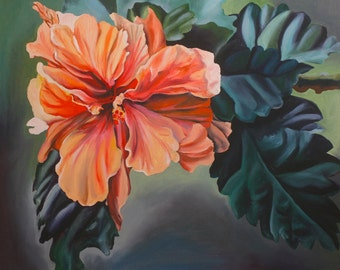 """Double Hibiscus 16""""x 20"""" giclee print on stretched canvas. Ready to hang."""