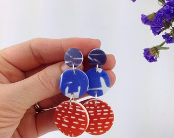 Statement earrings -Polymer clay earrings - big bold earrings -geometric earrings - long circle earrings - statement jewelry - clay earrings