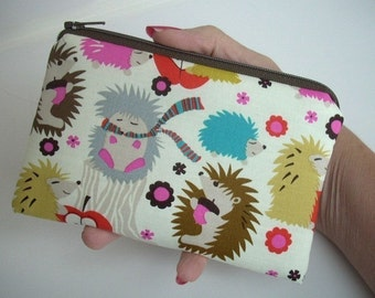 Small Coin Purse Hedgehog Meadow Little Zipper Pouch Cosmetic Zippered Pouch ECO Friendly Padded