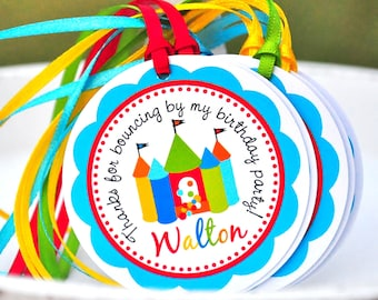 Bounce House Hang Tags, Personalized Favor Tags, Bounce House Birthday Party - Set of 12