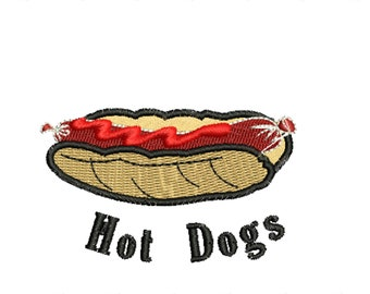 Hot dog embroydery, fast food embroidery