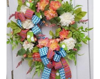 Spring Door Wreath, Spring Front Door Wreath, Spring Door Decor, Front Door Wreaths, Summer Wreaths, Summer Door Wreath, Mother's Day Wreath