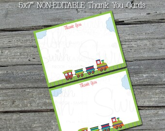 Train 5x7 thank you cards - transportation theme birthday - INSTANT DOWNLOAD