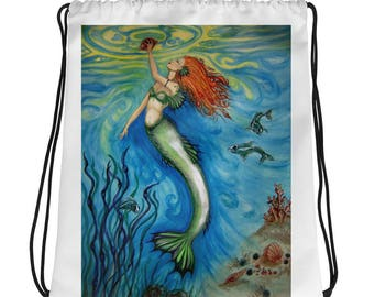 Treasures of the Sea Original Mermaid Art Print Drawstring bag/backpack