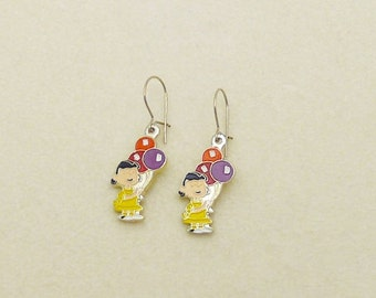 Vintage Snoopy Lucy with Balloons Earrings  Enamel Cloisonne 0009