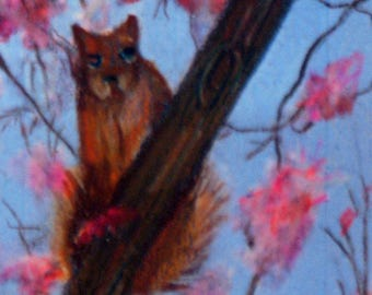 original art aceo squirrel in cherry tree