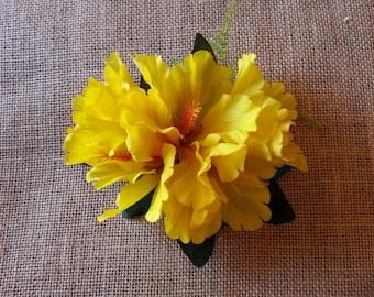 Yellow Hibiscus Tropical Hawaiian Hair Clip