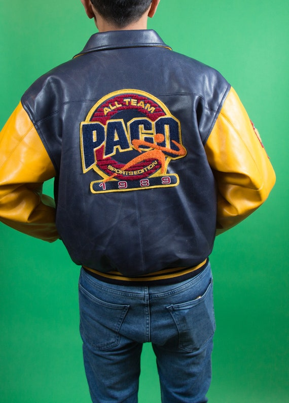 Sports Coat Jacket team All Jacket College Varsity University Mens Edition Blue Vintage PACO 1989 Leather Yellow and Bomber wgvqXRwA
