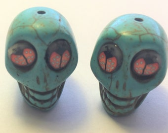 Sugar Skull Beads in Turquoise Howlite 20mm with Ladybug Eyes