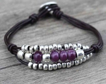 Bohemian Purple Bead and Silver Bracelet