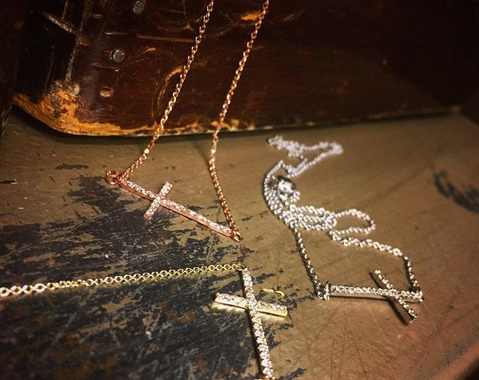 Diamond Sideways Cross Necklace in 14k Gold