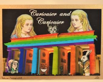 Alice in Wonderland and friends / back drop of the Brandenburg Gate / Handmade / Eco Friendly paper