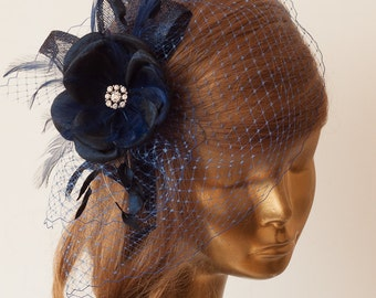 Navy Blue BIRDCAGE VEIL with Flower and Rhinestone Brooch.Fascinator with Veil