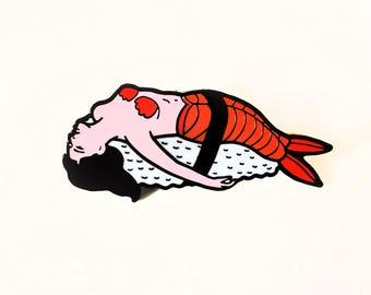 Hard Enamel pin of a sashimi lady jewelry accessories, pins, enamel pin, sushi