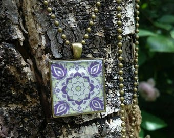 Square purple and green 'Arabesque' resin pendant. Resin Necklace, Resin Jewellery, boho.
