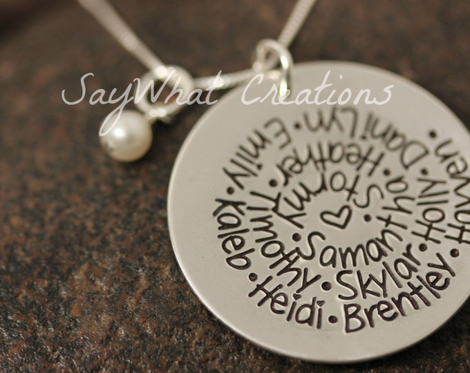 Sterling Silver Hand Stamped Swirl Names Spiral Necklace Grandmothers Mothers Perfect for lots of names Sterling Silver