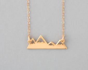 14k Solid Gold Adventure Necklace, The Mountains Are Calling Gold Necklace, Gold Mountain Necklace, Gold Mountain Pendant