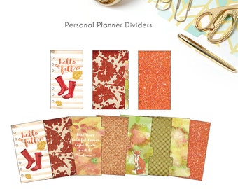 50% off Printable Personal Planner Dividers - Autumn/ Fall Themed