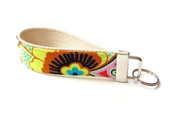 Fabric key fob wristlet keychain for women, cotton fob, modern flower, key carrier, key holder