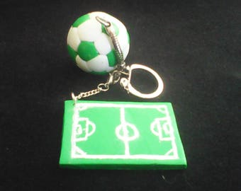 """Keychain """"green"""" football themed personalized"""
