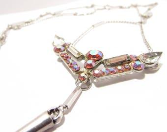 Pink Aurora Borealis Rhinestone Necklace