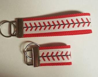 Red Glitter Stitch Softball Baseball red/white keyfob keychain wristlet